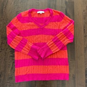 Loft orange and pink striped cable knit sweater